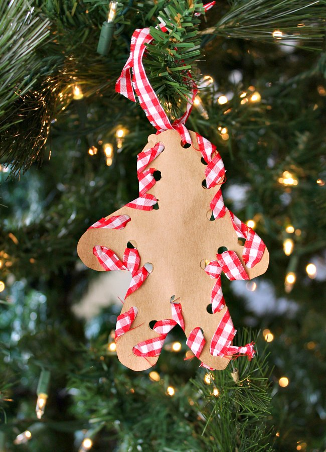 Sewing a Gingerbread Man Ornament with Kids