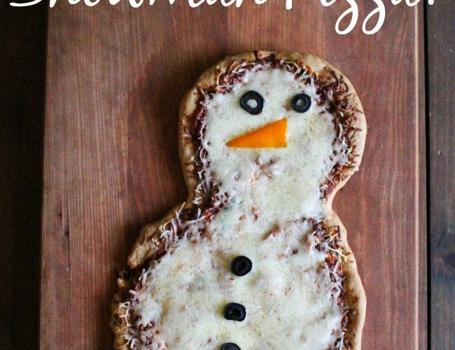 Snowman Pizza Recipe - snowman books and snowman pizza, the perfect combination for kids to read, make and eat.