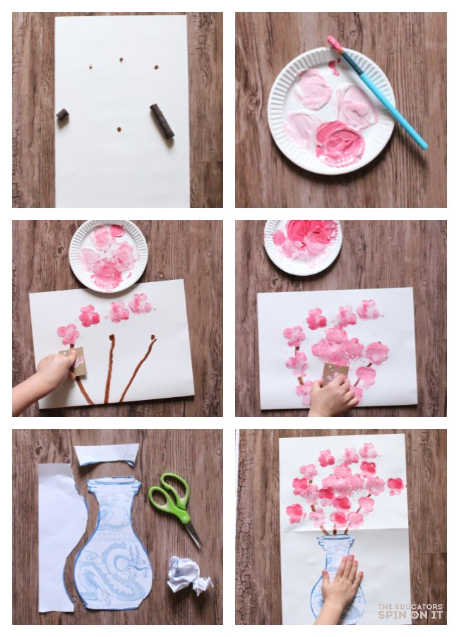 Step by Step directions to make the Dragon Vase Painting Project with Kids
