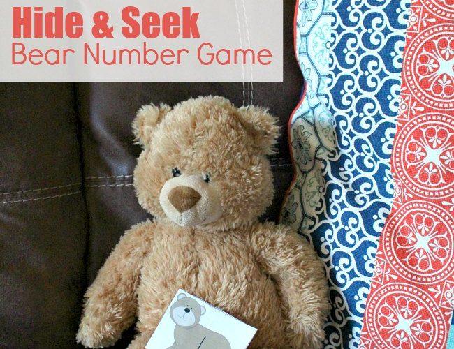 Printable Hide and Seek Bear Number Game for Preschoolers