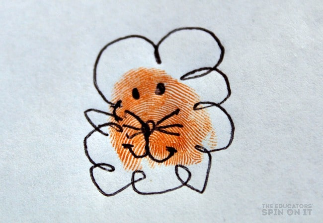 Lion Thumbprint Art with Kids