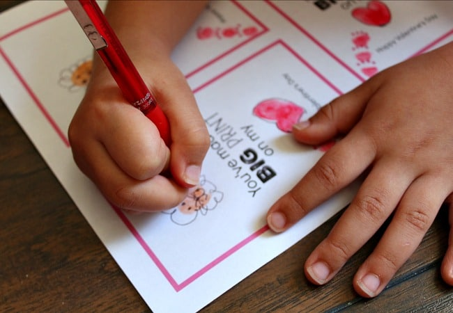 Lion Thumbprint Valentine Card Illustrations