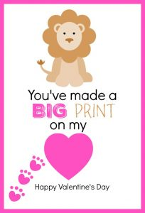 photo relating to Printable Valentine Card for Teacher identify Printable Lion Themed Thumbprint Valentines Working day Card