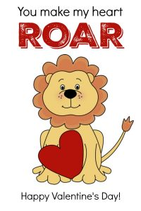"Valentine Card with Lion and Heart "" You make my heart ROAR! """