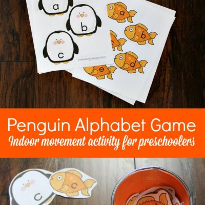 Penguin Themed Alphabet Game for Preschoolers