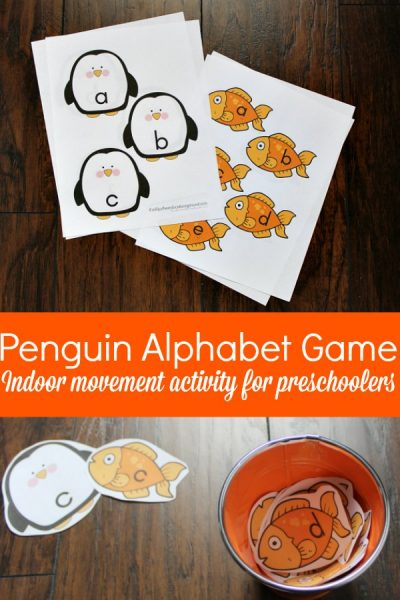 Penguin Themed Alphabet Game for Preschoolers with Printables