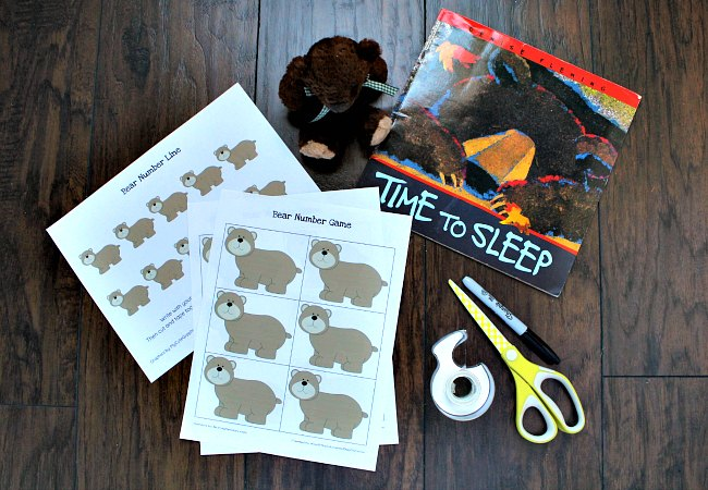 Printable Bear Number Game for Preschoolers with Number Line Activity