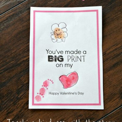 Printable Lion Themed Thumbprint Valentine's Day Card