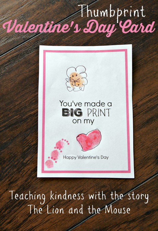 Teaching Kindness with Kids Using Valentine's Day Thumbprint Card