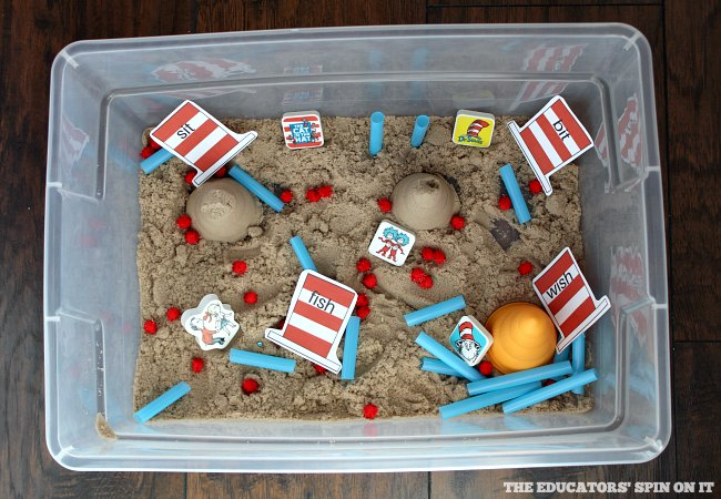 Rhyming Words Sensory Bin inspired by Dr. Seuss