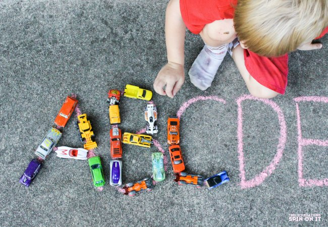 Capital Letter Outdoor Alphabet Car Activity for Kids