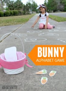Bunny Alphabet Game with Sidewalk Chalk for Movement and ABC Fun for Preschoolers
