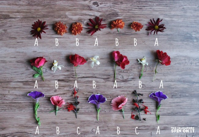 Flower Patterning, a math activity for kids