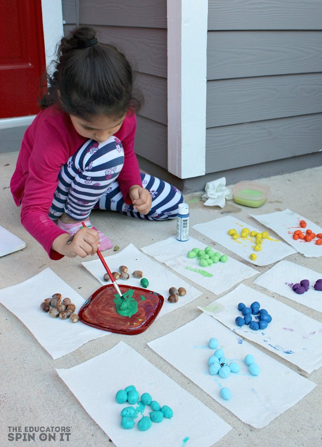 Painting Acorns for Rainbow Math Games