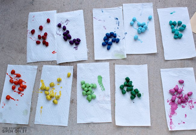 Painting Rainbow Math Counters with Acorns