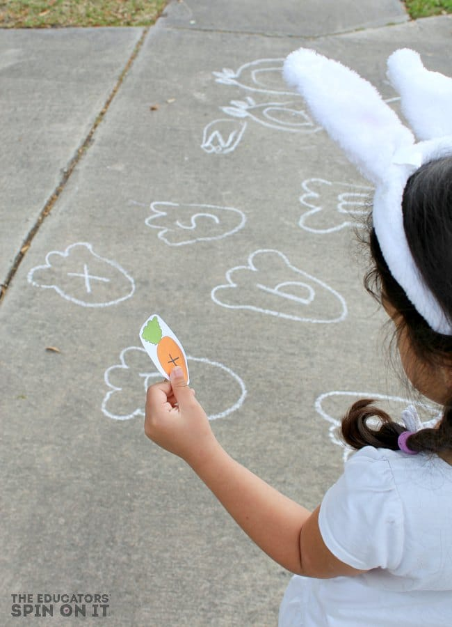 Sidewalk Chalk Game for Spring with Bunny Alphabet Game