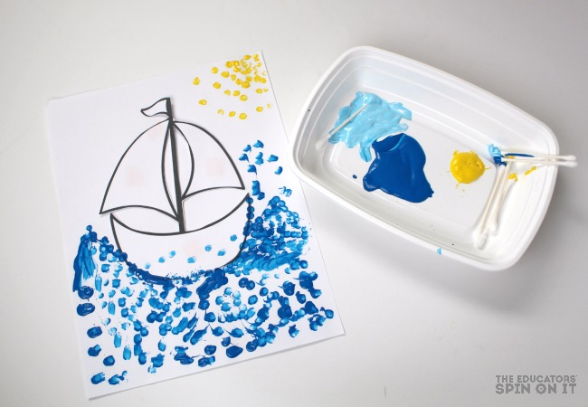 Toy Boat Dot Painting