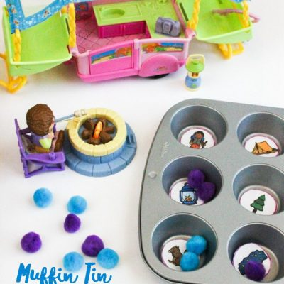 Muffin Tin Camping Theme Reading Game