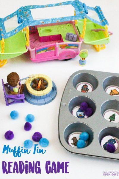 Muffin Tin Camping Theme Reading Game