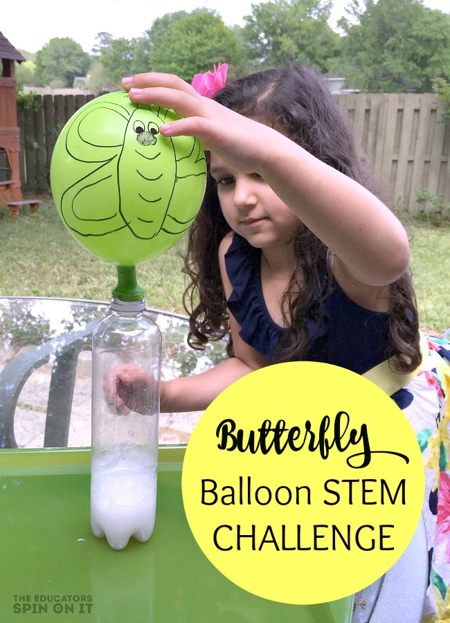 Create this adroable Butterfly Science Activity with your child but taking the Butterfly Balloon STEM Challenge for Kids