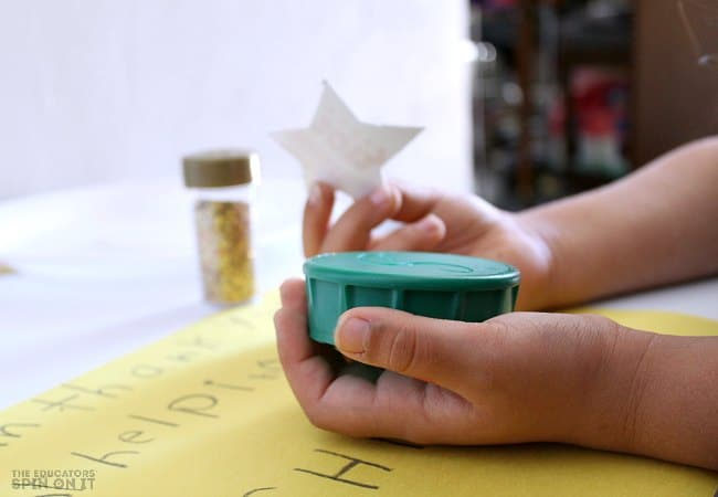 Create a Star Stamp for Kids Art Work. A fun art project for kids for someone special