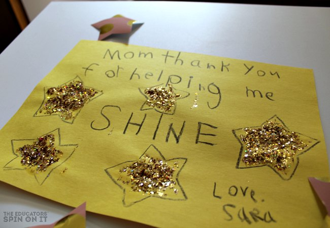 DIY Star Stamp to make Kids Art with Glitter and Stars. For Kids to share with someone who's out of this world awesome!