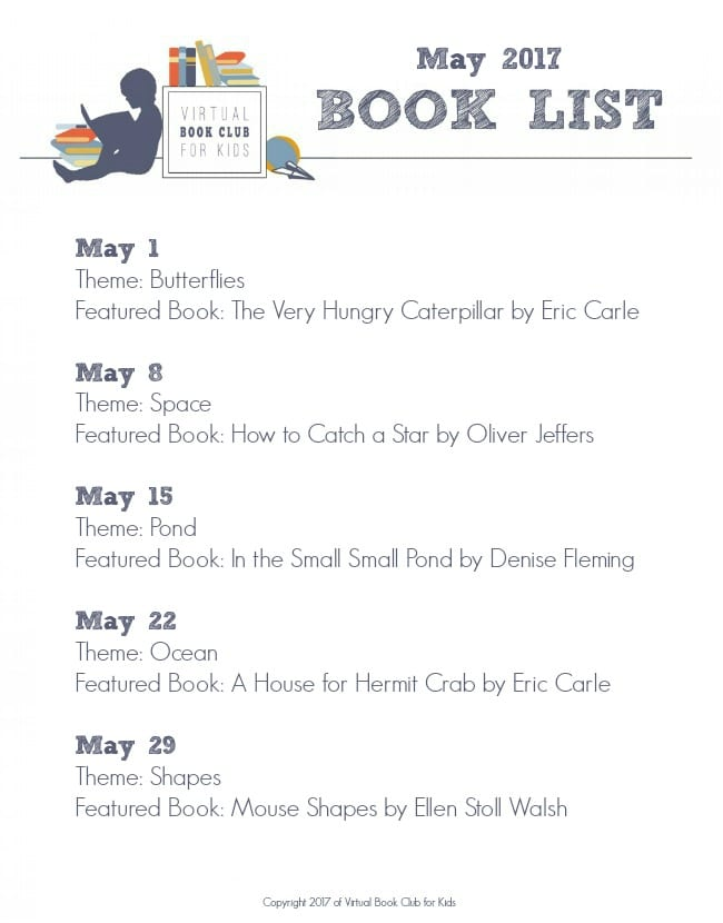 May Books List for Virtual Book Club for Kids 2017 for Preschoolers