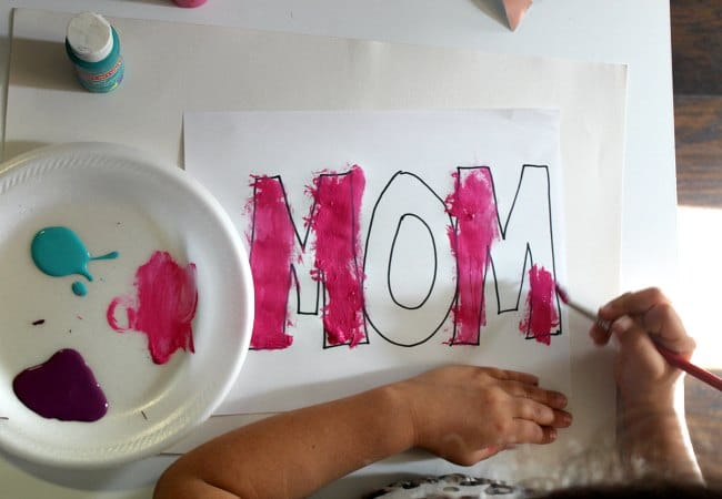 Mom Art Project with Kids Using Paint