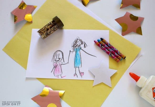 Mother's Day Card Idea for Kids with Star Stamps. A handmade idea for a special MOM
