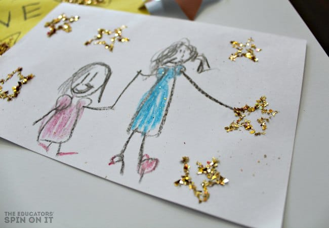 Star Stamp with Kids' Art for Mother's Day. An easy way to make stars for kids!
