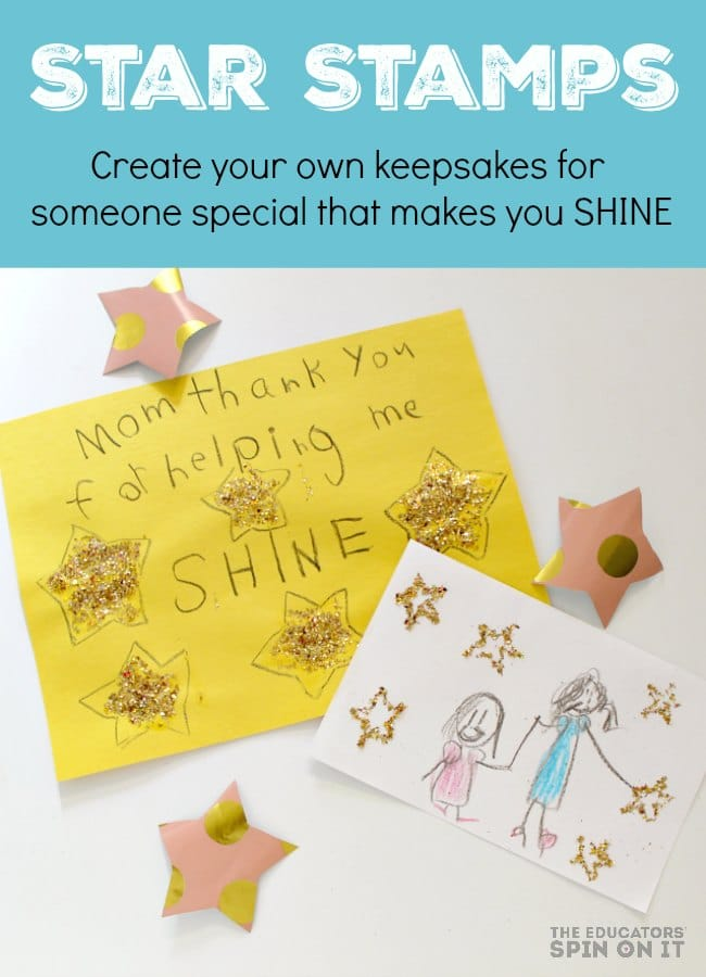 Star Stamps for Making Kids Art for someone special. This kids art project is easy and fun for your child and you! Even with DAD for Mother's Day!
