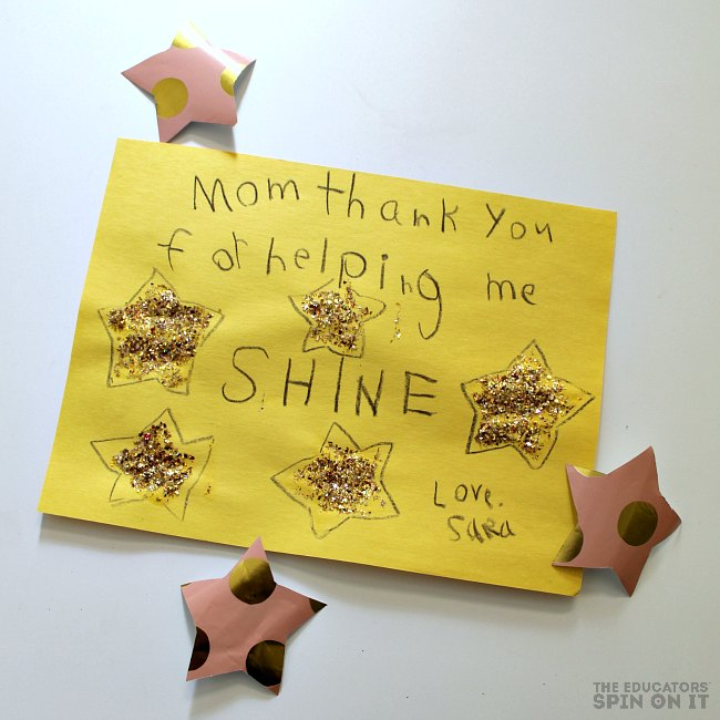 Thank you Mom card Idea with DIY Star Stamp