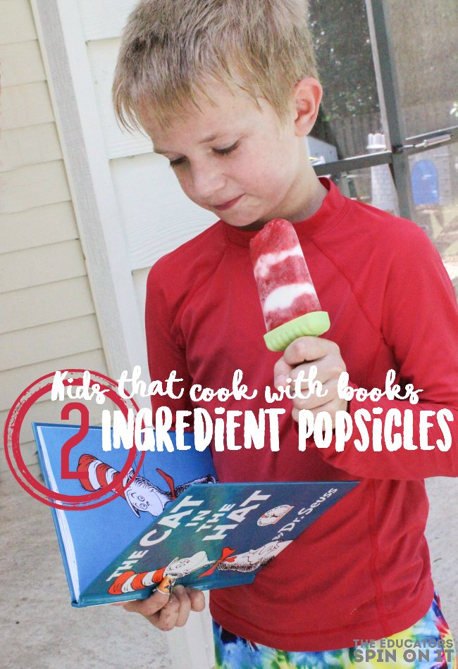 Cat and the Hat inspired 2 Ingredient Popsicles for kids to make and eat! Summer treats. Homemade popsicles. EASY to make.