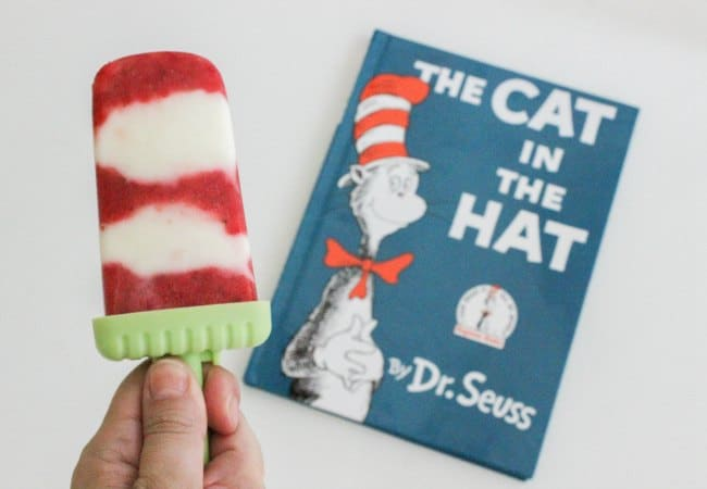 Cat and the Hat inspired 2 Ingredient Popsicles for kids to make and eat!
