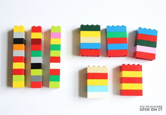 Assemble the bricks in groups of 5's and 10's for skip counting practice