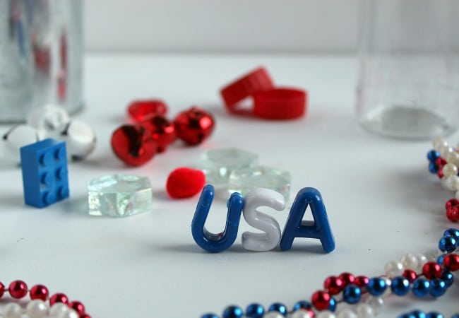 Patriotic Sensory Bottle Items for Red, White and Blue
