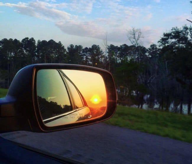 Road Trip Sunrise in Mirror