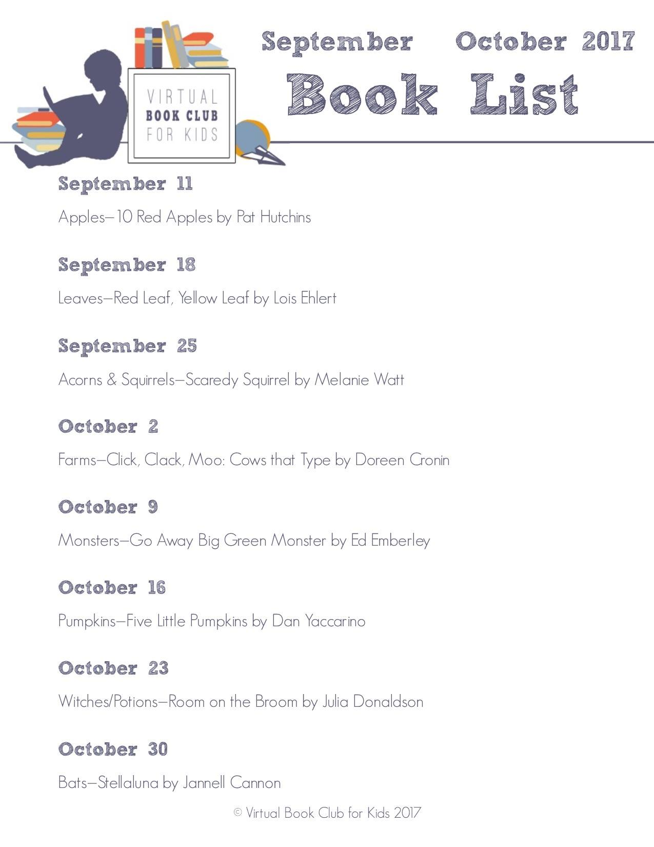 September October Book List for Virtual Book Club for Kids