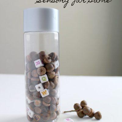 Acorn Alphabet Sensory Jar Game for Preschoolers