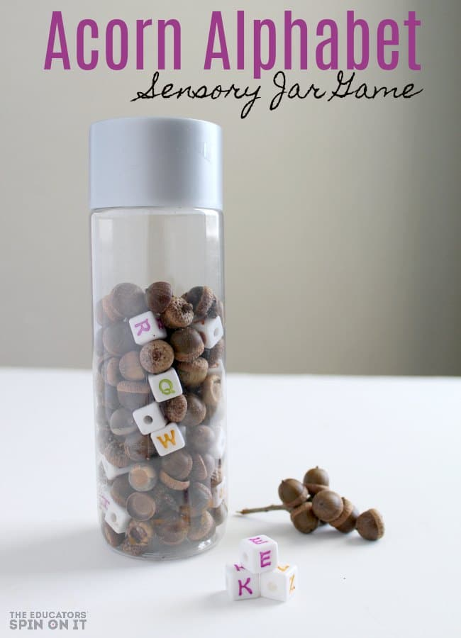 Acorn Alphabet Sensory Jar Game for Preschoolers