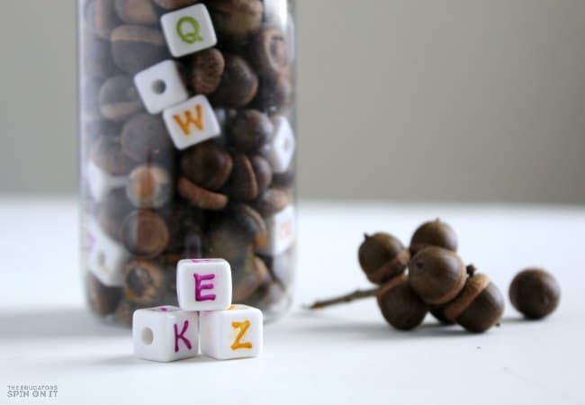 Alphabet Acorn Sensory Jar Game