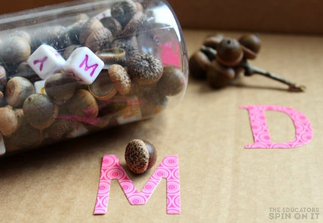 Alphabet Matching Game with Acorns for Preschoolers