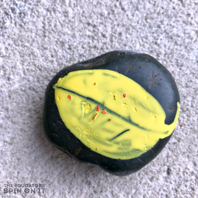 Painted Leaf Rock for Kids