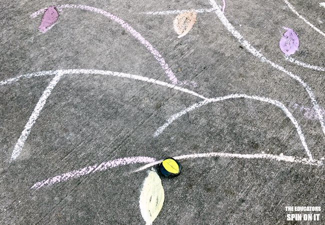 Sidewalk Chalk Game for Fall with Leaf Rocks