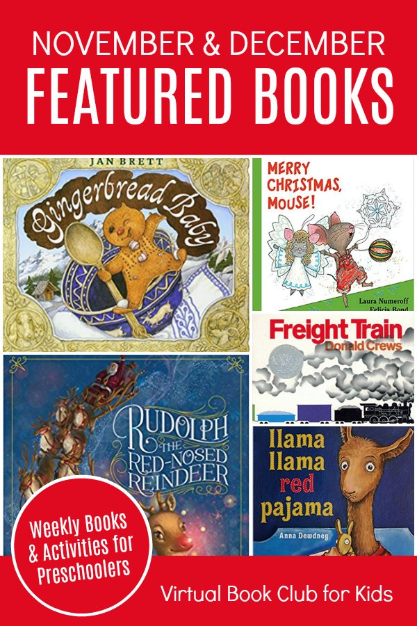 Book List November and December for Virtual Book Club for Kids