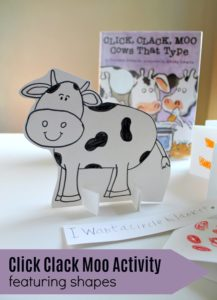 Click Clack Moo Activity featuring shapes