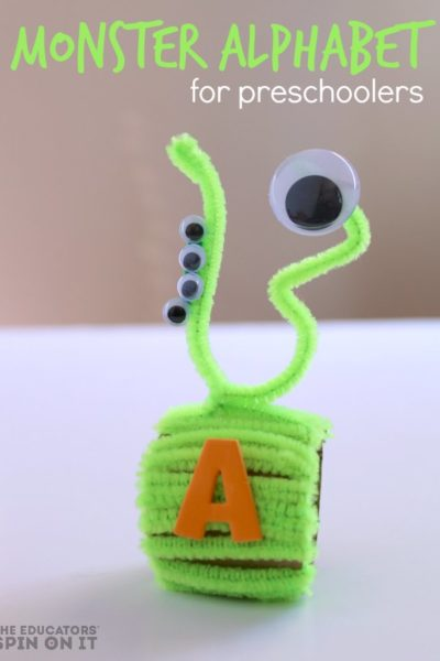 Monster Themed Name Necklace Craft for Preschoolers