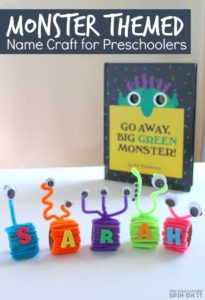 Monster Name Craft for Preschoolers inspired by Go Away Big Green Monster