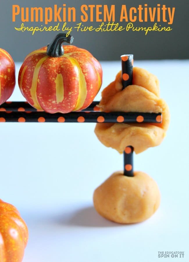 Pumpkin STEM Activity inspired by Five Little Pumpkins for Preschoolers