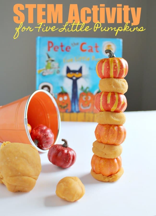 STEM Activity for Five Little Pumpkins with pumpkin playdough